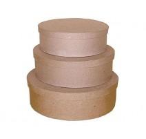 Set de 3 cajas de papel maché ovales