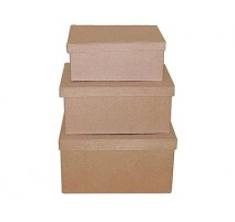 Set de 3 cajas papel maché rectangulares