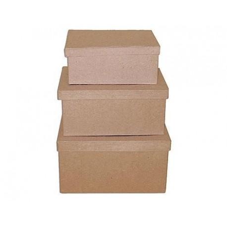 Set de 3 cajas papel maché rectangulares