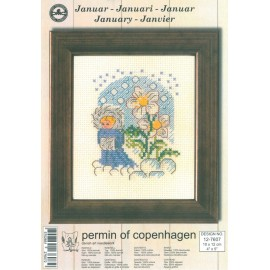 Cross Stitching Kit - Permin Of Copenhagen - January