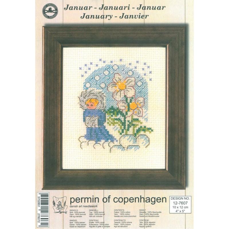 Kit Punto de Cruz - Permin Of Copenhagen - Enero