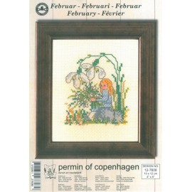 Cross Stitching Kit - Permin Of Copenhagen - February