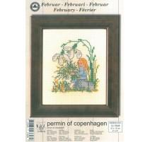 Cross Stitching Kit - Permin Of Copenhagen - February