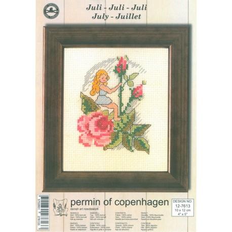 Kit Punto de Cruz - Permin Of Copenhagen - Julio