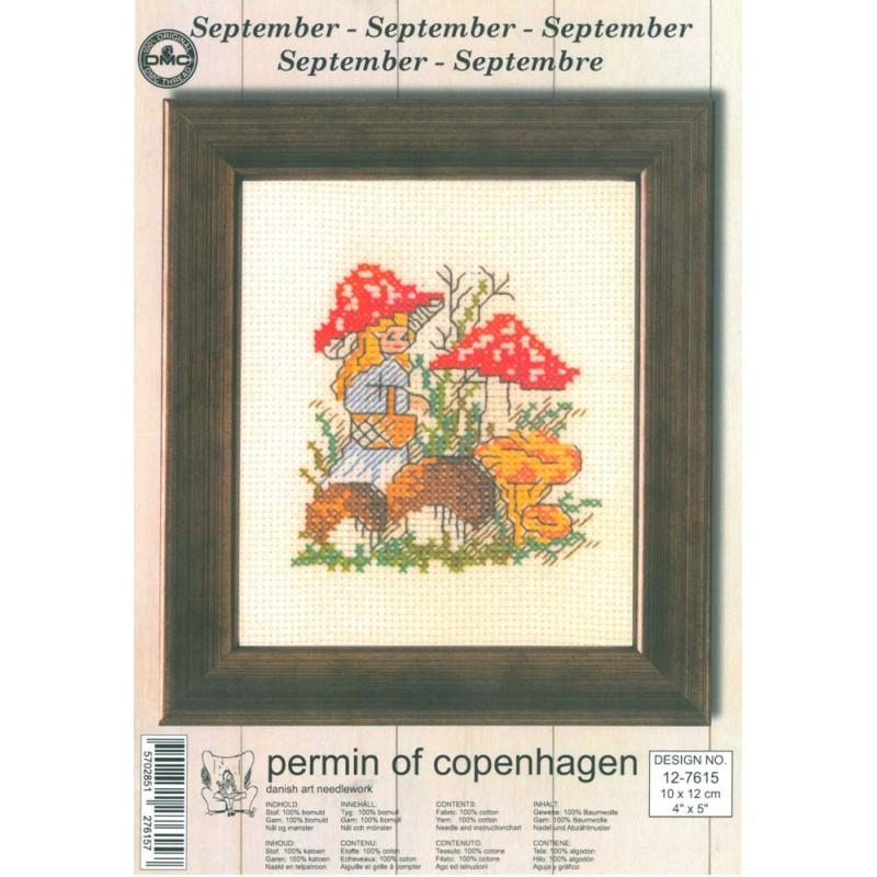 Cross Stitching Kit - Permin Of Copenhagen - September