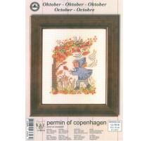 Cross Stitching Kit - Permin Of Copenhagen - October