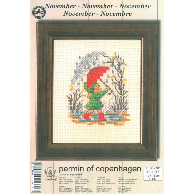 Cross Stitching Kit - Permin Of Copenhagen - November