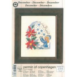 Kit Punto de Cruz - Permin Of Copenhagen - Diciembre