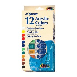 Kit 12 acrylic colors 12 ml tubes El greco C.Kreul