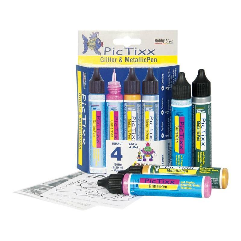Kit Pic Tixx 4 pinturas Purpurina/Metalicas 29 ml