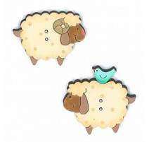 Wooden Buttons - Sheep Couple
