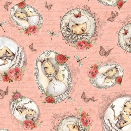 Mirabelle Fabric - Girl Cameos on Script Pink